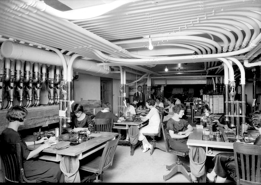 Pneumatic tube room at the broadway department store