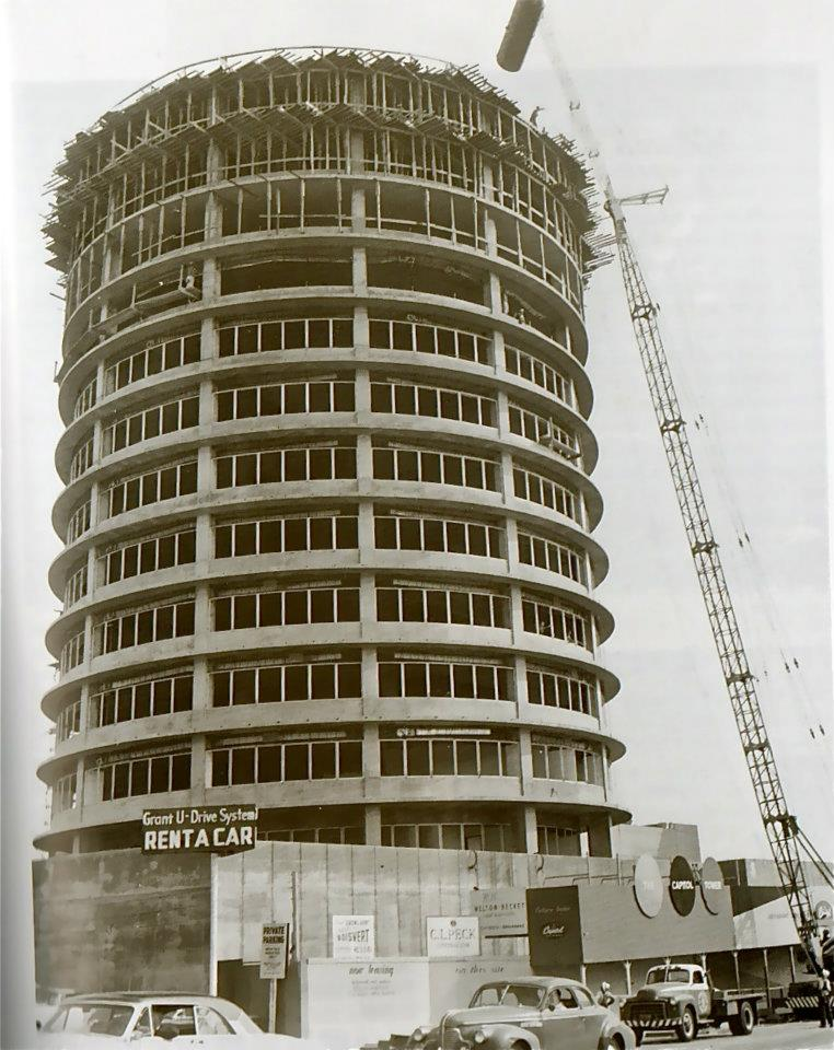 Capital Records building under construction, 1954