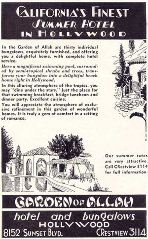 Newspaper advertisement for the Garden of Allah Hotel & Bungalows