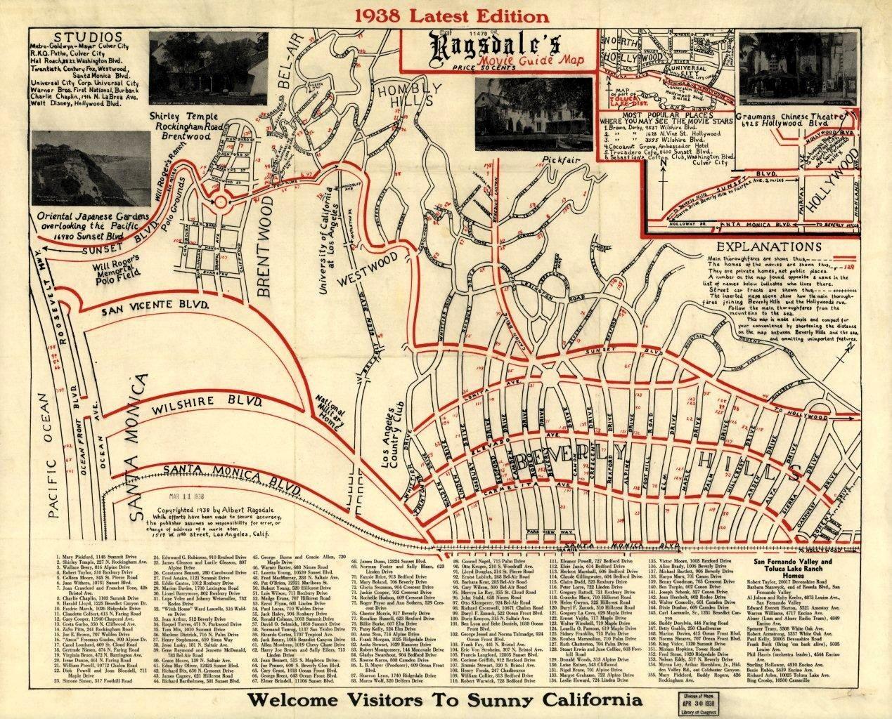 Albert Ragsdales Map Of Movie Star Homes - Los angeles map sightseeing
